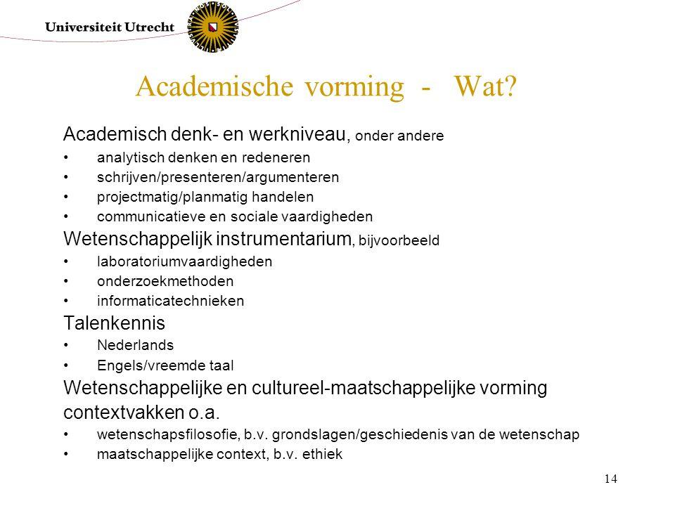 14 Academische vorming - Wat? Academisch denk- en werkniveau, onder andere analytisch denken en redeneren schrijven/presenteren/argumenteren projectma