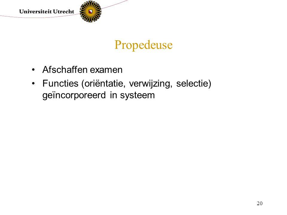 20 Propedeuse Afschaffen examen Functies (oriëntatie, verwijzing, selectie) geïncorporeerd in systeem