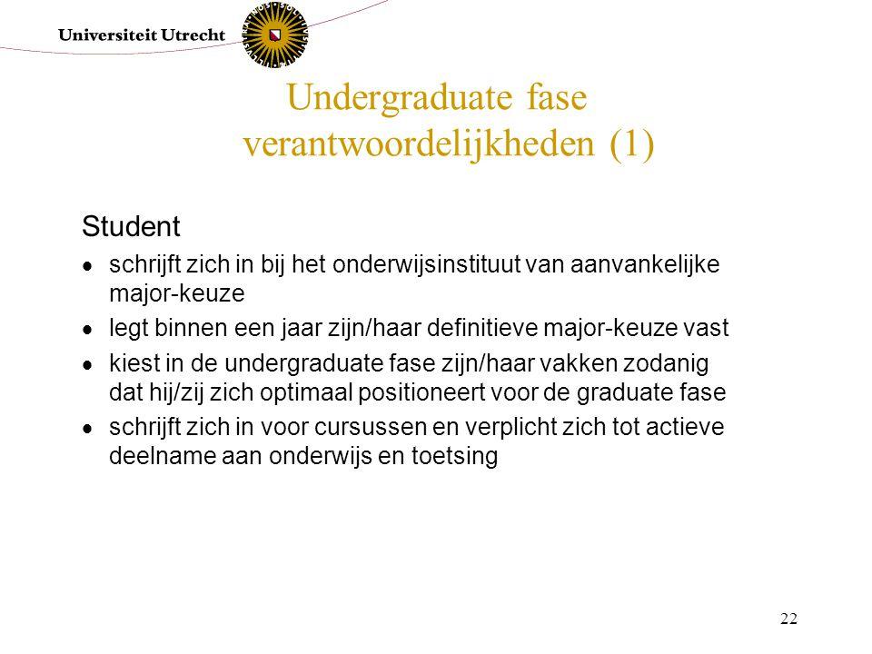 22 Undergraduate fase verantwoordelijkheden (1) Student  schrijft zich in bij het onderwijsinstituut van aanvankelijke major-keuze  legt binnen een