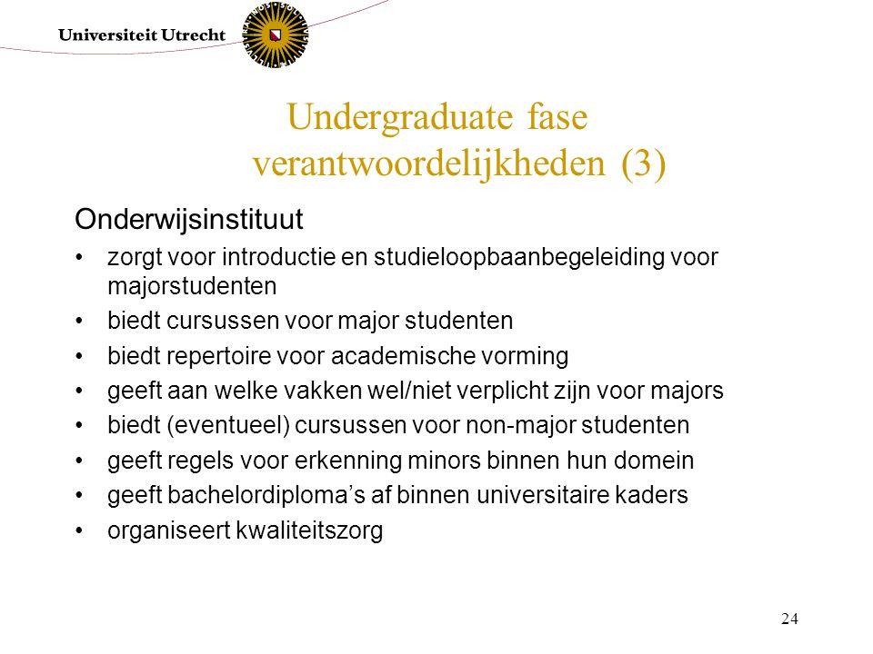 24 Undergraduate fase verantwoordelijkheden (3) Onderwijsinstituut zorgt voor introductie en studieloopbaanbegeleiding voor majorstudenten biedt cursu