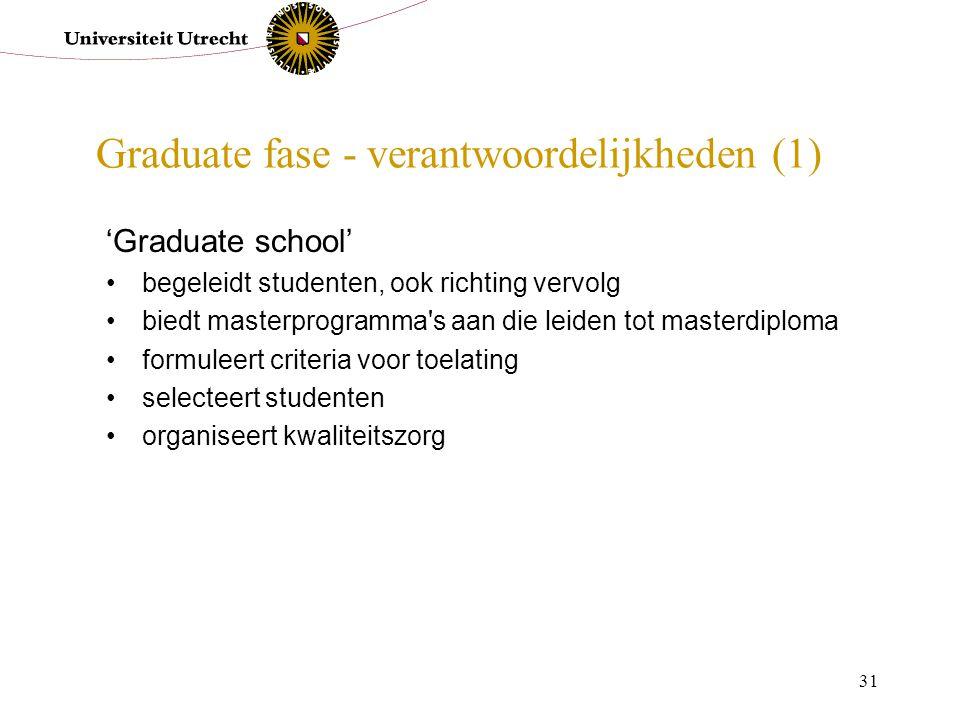 31 Graduate fase - verantwoordelijkheden (1) 'Graduate school' begeleidt studenten, ook richting vervolg biedt masterprogramma's aan die leiden tot ma