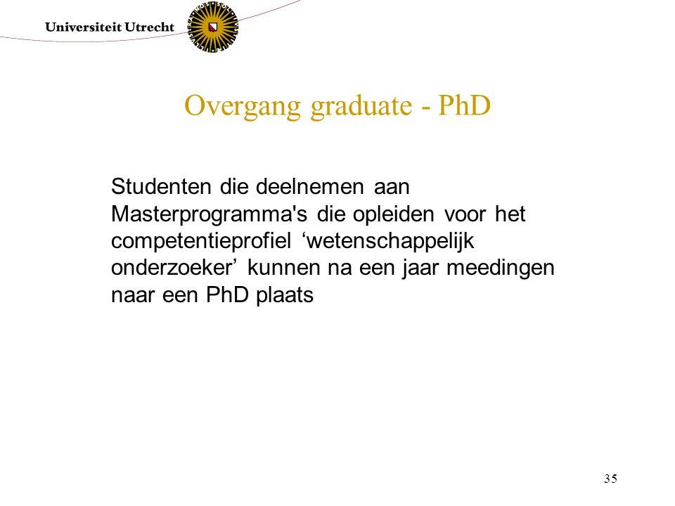 35 Overgang graduate - PhD Studenten die deelnemen aan Masterprogramma's die opleiden voor het competentieprofiel 'wetenschappelijk onderzoeker' kunne
