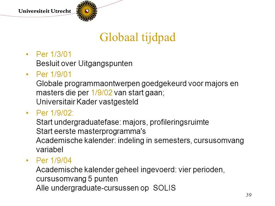 39 Globaal tijdpad Per 1/3/01 Besluit over Uitgangspunten Per 1/9/01 Globale programmaontwerpen goedgekeurd voor majors en masters die per 1/9/02 van