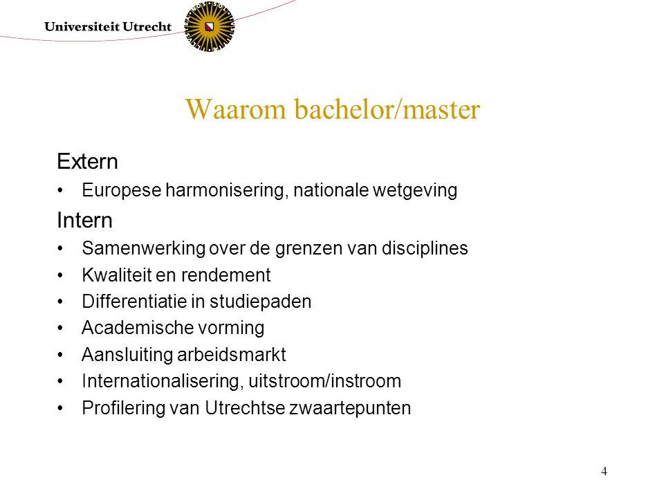 4 Waarom bachelor/master Extern Europese harmonisering, nationale wetgeving Intern Samenwerking over de grenzen van disciplines Kwaliteit en rendement