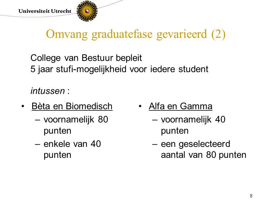 8 Omvang graduatefase gevarieerd (2) Bèta en Biomedisch –voornamelijk 80 punten –enkele van 40 punten Alfa en Gamma –voornamelijk 40 punten –een gesel