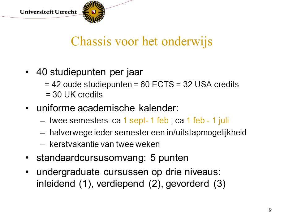 9 Chassis voor het onderwijs 40 studiepunten per jaar = 42 oude studiepunten = 60 ECTS = 32 USA credits = 30 UK credits uniforme academische kalender: