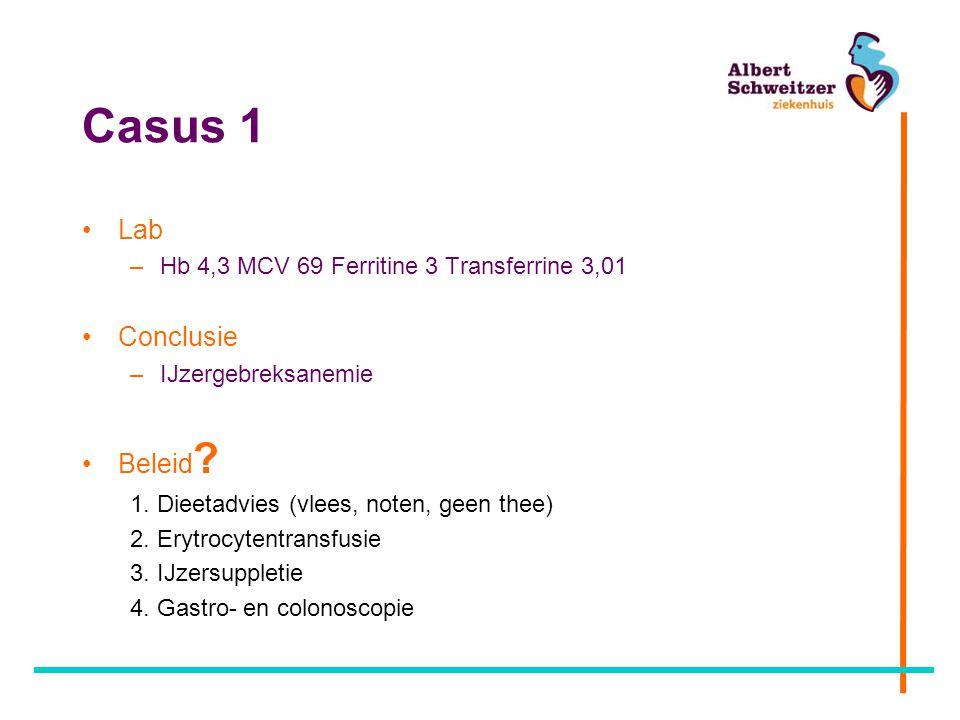 Casus 1 Lab –Hb 4,3 MCV 69 Ferritine 3 Transferrine 3,01 Conclusie –IJzergebreksanemie Beleid ? 1. Dieetadvies (vlees, noten, geen thee) 2. Erytrocyte