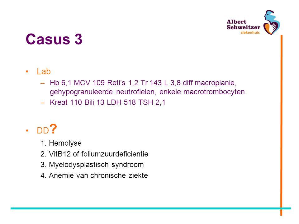 Casus 3 Lab –Hb 6,1 MCV 109 Reti's 1,2 Tr 143 L 3,8 diff macroplanie, gehypogranuleerde neutrofielen, enkele macrotrombocyten –Kreat 110 Bili 13 LDH 5