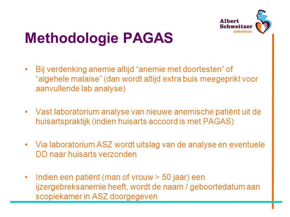 """Methodologie PAGAS Bij verdenking anemie altijd """"anemie met doortesten"""" of """"algehele malaise"""" (dan wordt altijd extra buis meegeprikt voor aanvullende"""