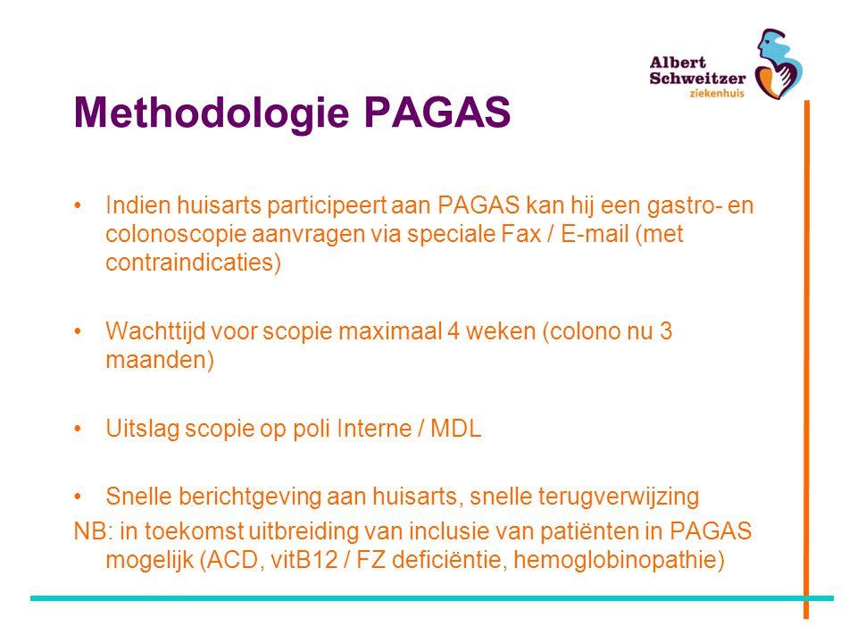 Methodologie PAGAS Indien huisarts participeert aan PAGAS kan hij een gastro- en colonoscopie aanvragen via speciale Fax / E-mail (met contraindicatie