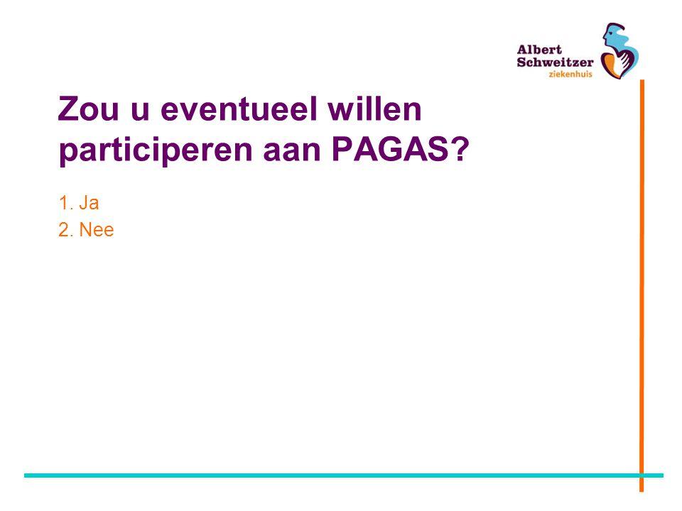 Zou u eventueel willen participeren aan PAGAS? 1. Ja 2. Nee