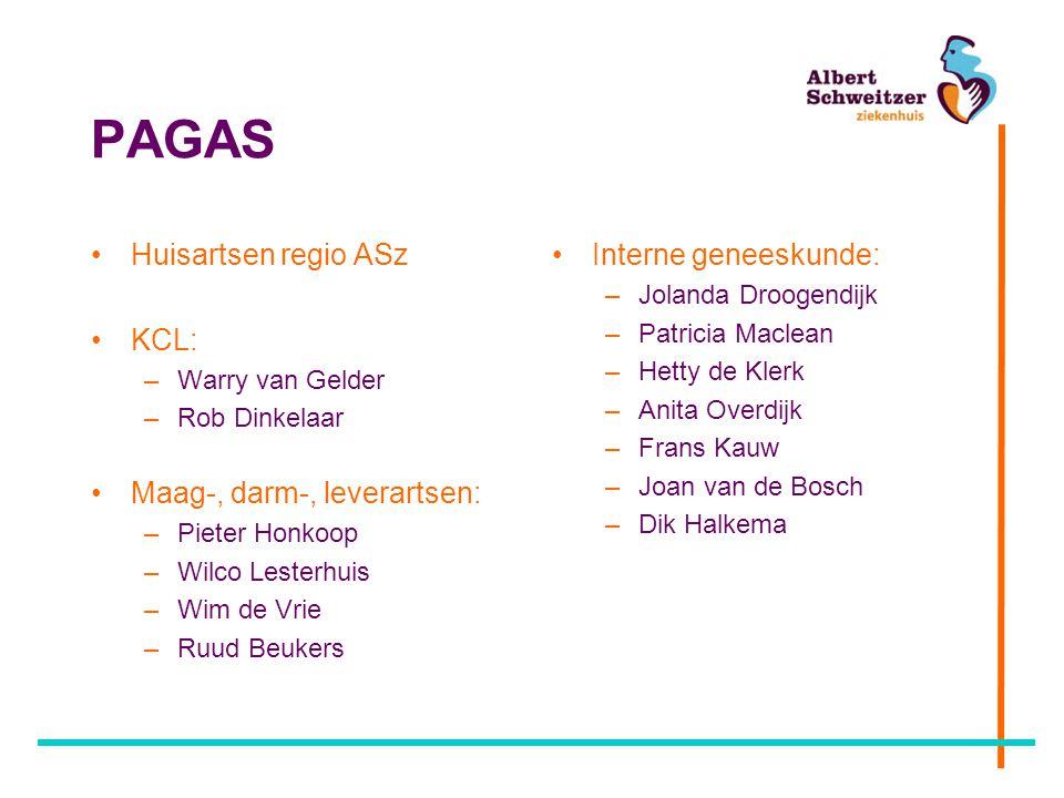 PAGAS Huisartsen regio ASz KCL: –Warry van Gelder –Rob Dinkelaar Maag-, darm-, leverartsen: –Pieter Honkoop –Wilco Lesterhuis –Wim de Vrie –Ruud Beuke