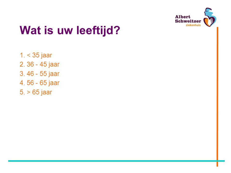 Wat is uw leeftijd? 1. < 35 jaar 2. 36 - 45 jaar 3. 46 - 55 jaar 4. 56 - 65 jaar 5. > 65 jaar