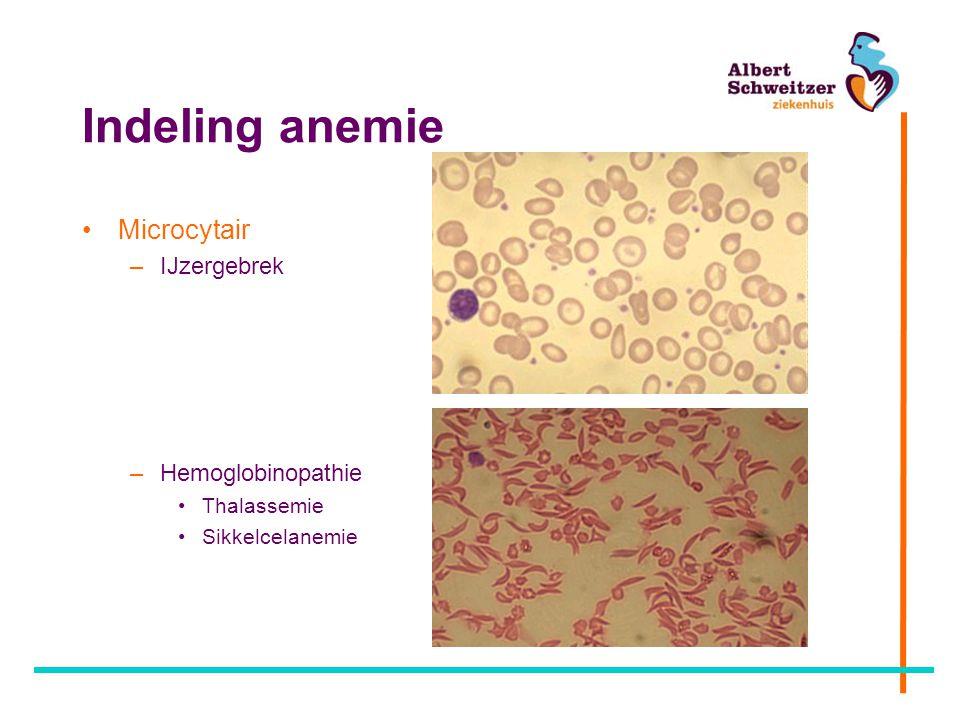 Indeling anemie Microcytair –IJzergebrek –Hemoglobinopathie Thalassemie Sikkelcelanemie