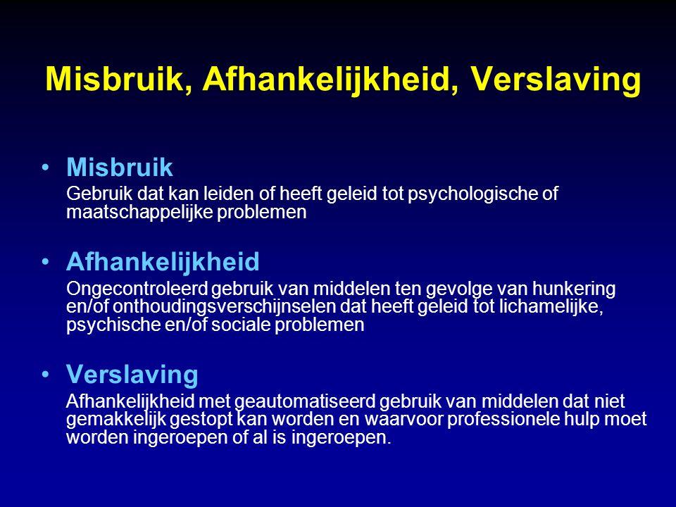 Misbruik, Afhankelijkheid, Verslaving Misbruik Gebruik dat kan leiden of heeft geleid tot psychologische of maatschappelijke problemen Afhankelijkheid