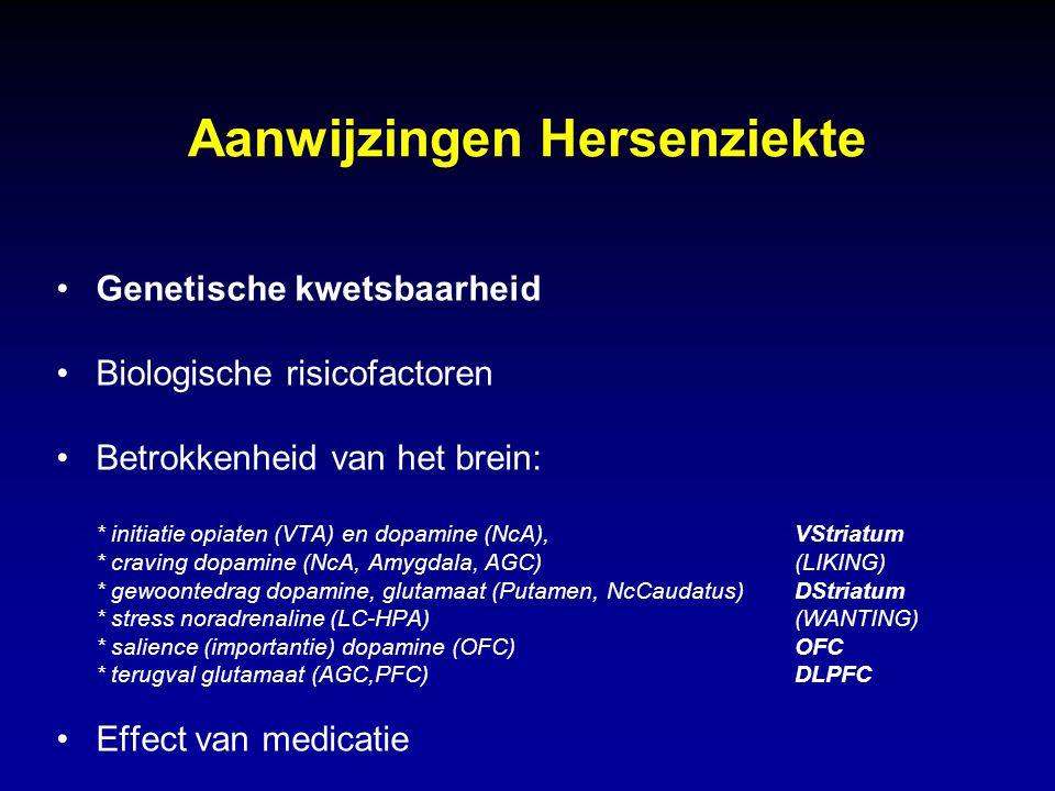 Aanwijzingen Hersenziekte Genetische kwetsbaarheid Biologische risicofactoren Betrokkenheid van het brein: * initiatie opiaten (VTA) en dopamine (NcA)