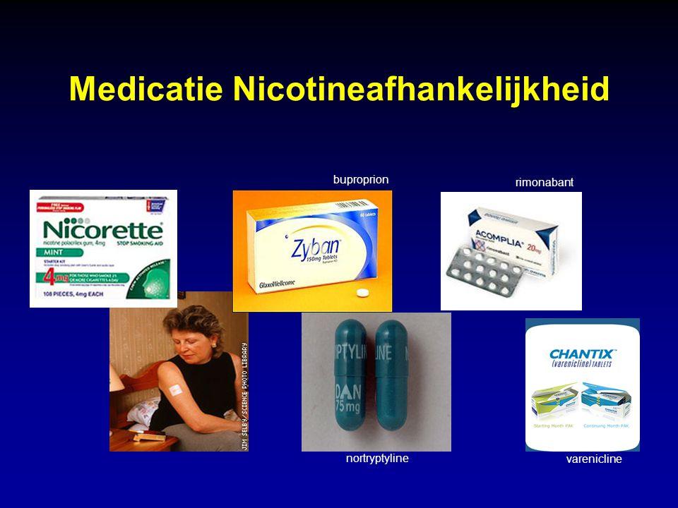 Medicatie Nicotineafhankelijkheid buproprion nortryptyline rimonabant varenicline
