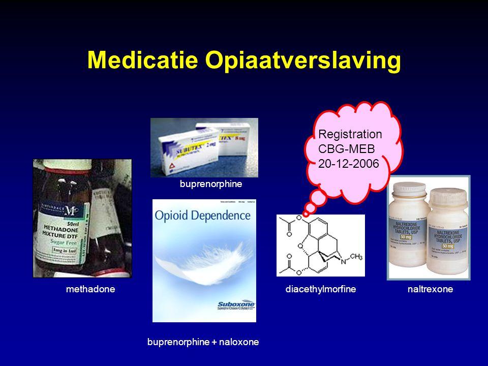 Medicatie Opiaatverslaving methadone buprenorphine buprenorphine + naloxone naltrexonediacethylmorfine Registration CBG-MEB 20-12-2006