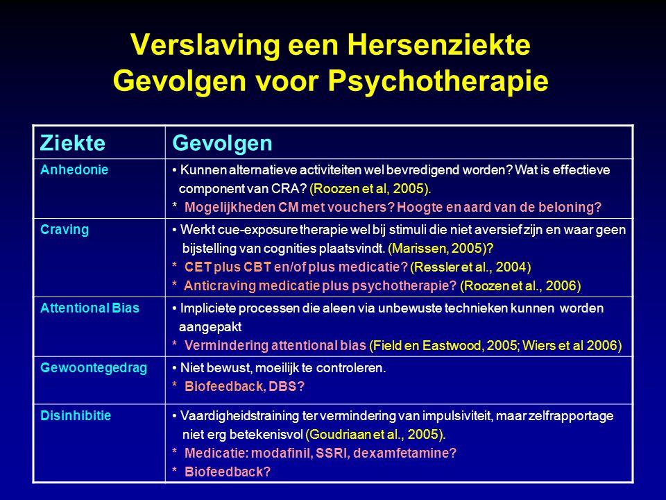 Verslaving een Hersenziekte Gevolgen voor Psychotherapie ZiekteGevolgen Anhedonie Kunnen alternatieve activiteiten wel bevredigend worden? Wat is effe