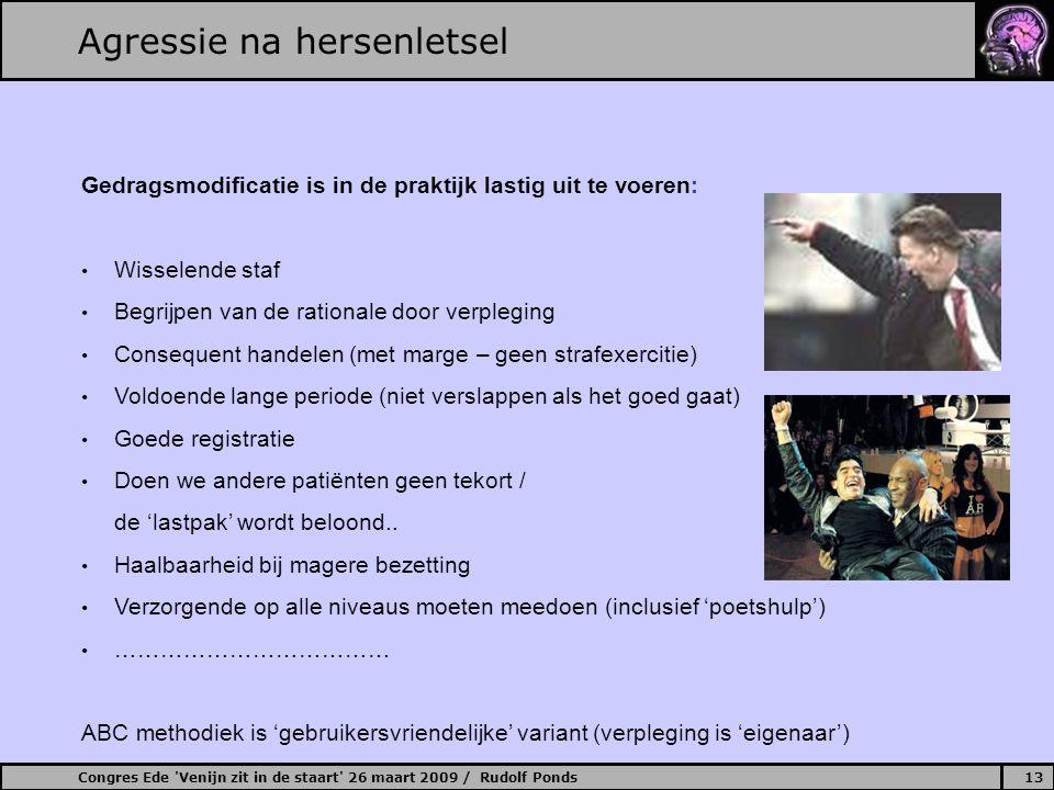 Congres Ede 'Venijn zit in de staart' 26 maart 2009 / Rudolf Ponds13 Gedragsmodificatie is in de praktijk lastig uit te voeren: Wisselende staf Begrij