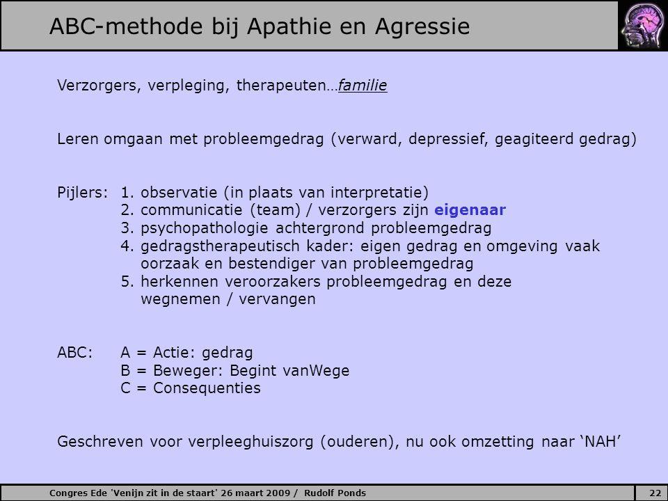 Congres Ede 'Venijn zit in de staart' 26 maart 2009 / Rudolf Ponds22 ABC-methode bij Apathie en Agressie Verzorgers, verpleging, therapeuten…familie L