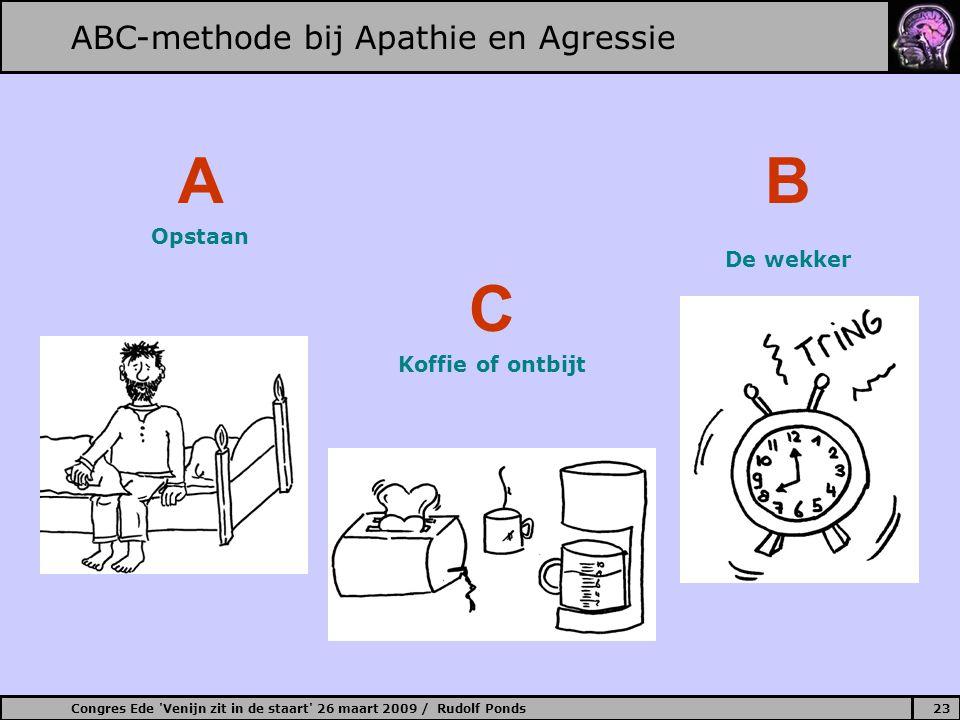 Congres Ede 'Venijn zit in de staart' 26 maart 2009 / Rudolf Ponds23 ABC-methode bij Apathie en Agressie B De wekker A Opstaan C Koffie of ontbijt