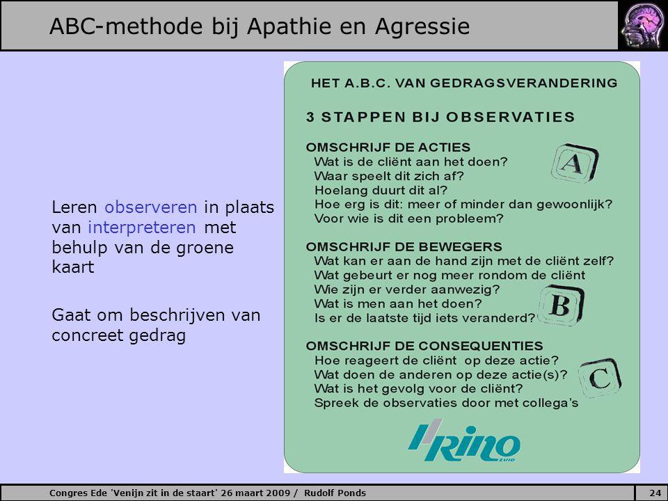 Congres Ede 'Venijn zit in de staart' 26 maart 2009 / Rudolf Ponds24 ABC-methode bij Apathie en Agressie Leren observeren in plaats van interpreteren