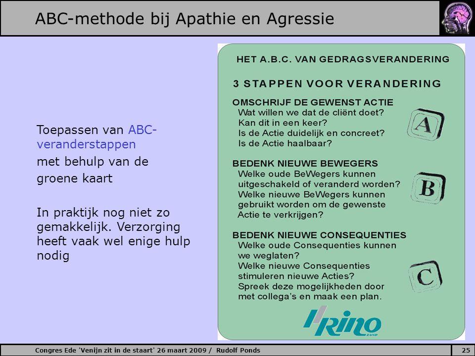 Congres Ede Venijn zit in de staart 26 maart 2009 / Rudolf Ponds25 ABC-methode bij Apathie en Agressie Toepassen van ABC- veranderstappen met behulp van de groene kaart In praktijk nog niet zo gemakkelijk.