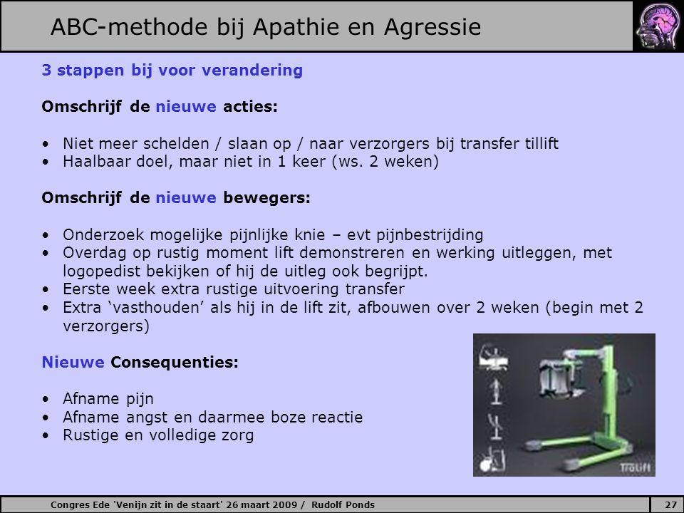 Congres Ede 'Venijn zit in de staart' 26 maart 2009 / Rudolf Ponds27 ABC-methode bij Apathie en Agressie 3 stappen bij voor verandering Omschrijf de n