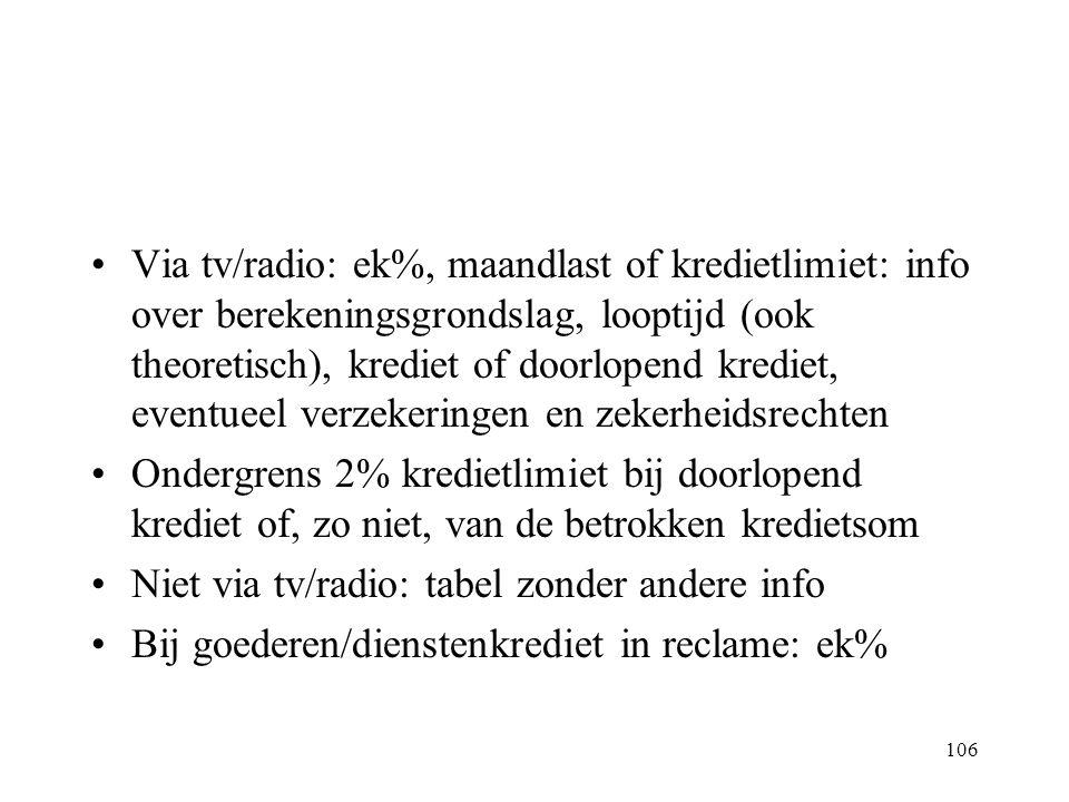 106 Via tv/radio: ek%, maandlast of kredietlimiet: info over berekeningsgrondslag, looptijd (ook theoretisch), krediet of doorlopend krediet, eventuee