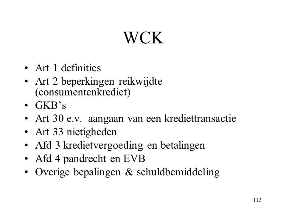 113 WCK Art 1 definities Art 2 beperkingen reikwijdte (consumentenkrediet) GKB's Art 30 e.v. aangaan van een krediettransactie Art 33 nietigheden Afd