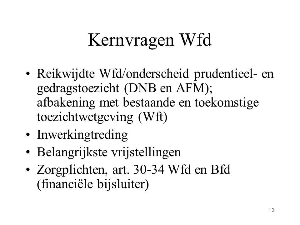 12 Kernvragen Wfd Reikwijdte Wfd/onderscheid prudentieel- en gedragstoezicht (DNB en AFM); afbakening met bestaande en toekomstige toezichtwetgeving (Wft) Inwerkingtreding Belangrijkste vrijstellingen Zorgplichten, art.