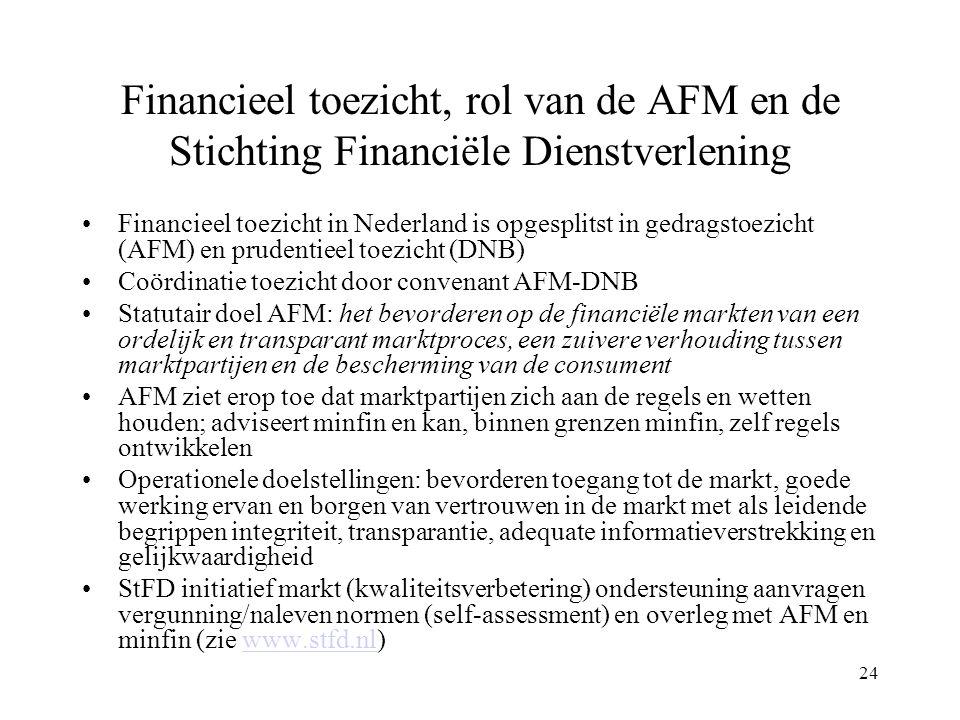 24 Financieel toezicht, rol van de AFM en de Stichting Financiële Dienstverlening Financieel toezicht in Nederland is opgesplitst in gedragstoezicht (AFM) en prudentieel toezicht (DNB) Coördinatie toezicht door convenant AFM-DNB Statutair doel AFM: het bevorderen op de financiële markten van een ordelijk en transparant marktproces, een zuivere verhouding tussen marktpartijen en de bescherming van de consument AFM ziet erop toe dat marktpartijen zich aan de regels en wetten houden; adviseert minfin en kan, binnen grenzen minfin, zelf regels ontwikkelen Operationele doelstellingen: bevorderen toegang tot de markt, goede werking ervan en borgen van vertrouwen in de markt met als leidende begrippen integriteit, transparantie, adequate informatieverstrekking en gelijkwaardigheid StFD initiatief markt (kwaliteitsverbetering) ondersteuning aanvragen vergunning/naleven normen (self-assessment) en overleg met AFM en minfin (zie www.stfd.nl)www.stfd.nl