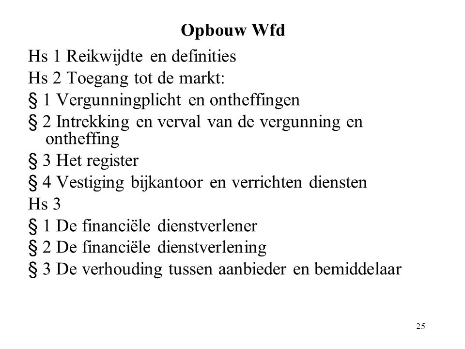 25 Opbouw Wfd Hs 1 Reikwijdte en definities Hs 2 Toegang tot de markt: § 1 Vergunningplicht en ontheffingen § 2 Intrekking en verval van de vergunning