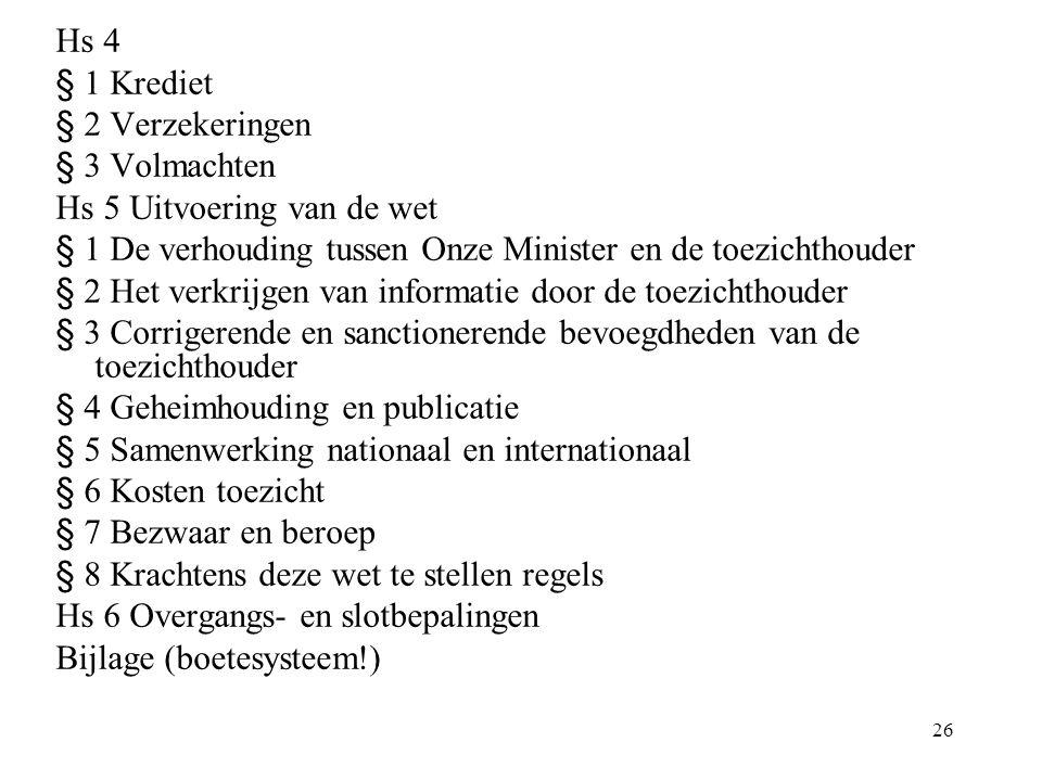 26 Hs 4 § 1 Krediet § 2 Verzekeringen § 3 Volmachten Hs 5 Uitvoering van de wet § 1 De verhouding tussen Onze Minister en de toezichthouder § 2 Het ve
