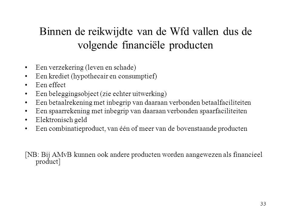 33 Binnen de reikwijdte van de Wfd vallen dus de volgende financiële producten Een verzekering (leven en schade) Een krediet (hypothecair en consumpti
