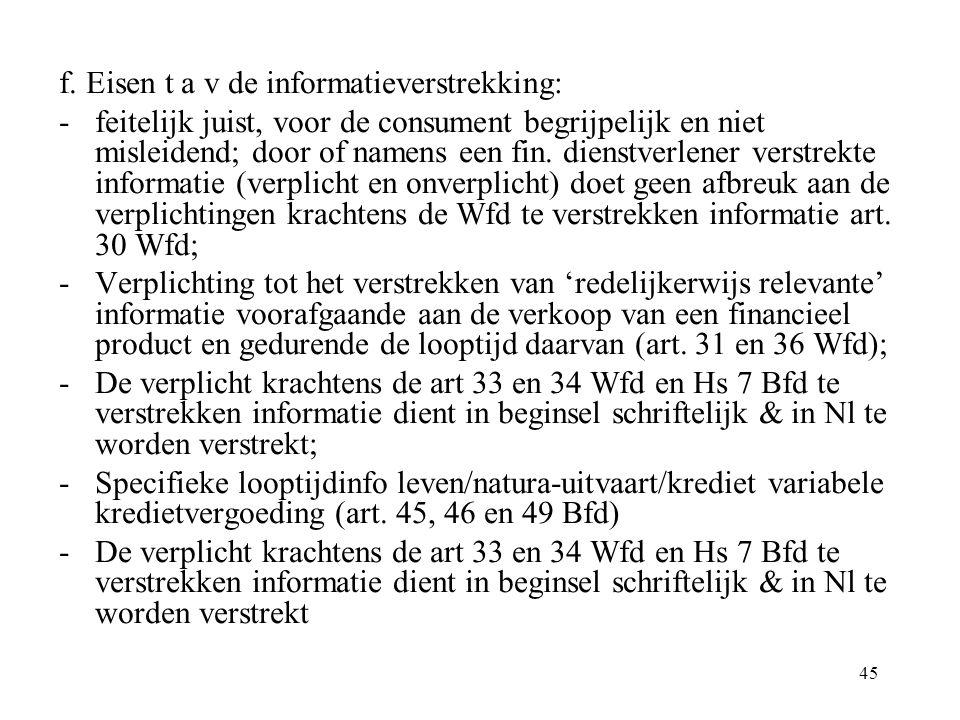 45 f. Eisen t a v de informatieverstrekking: -feitelijk juist, voor de consument begrijpelijk en niet misleidend; door of namens een fin. dienstverlen