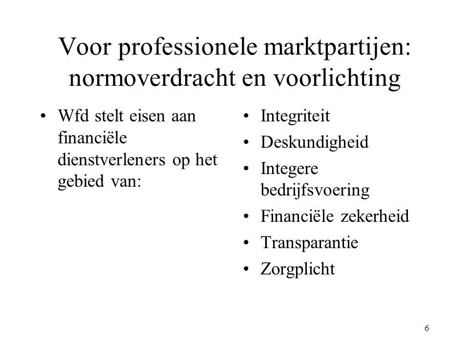 6 Voor professionele marktpartijen: normoverdracht en voorlichting Wfd stelt eisen aan financiële dienstverleners op het gebied van: Integriteit Desku