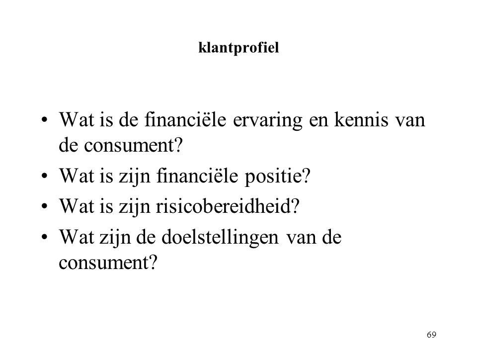 69 klantprofiel Wat is de financiële ervaring en kennis van de consument.