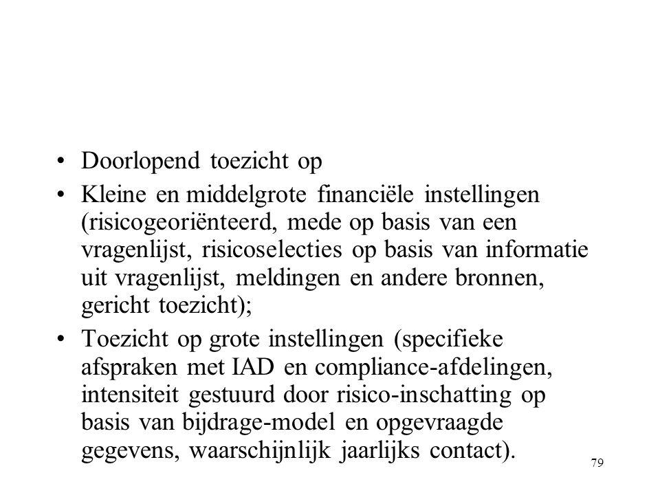 79 Doorlopend toezicht op Kleine en middelgrote financiële instellingen (risicogeoriënteerd, mede op basis van een vragenlijst, risicoselecties op basis van informatie uit vragenlijst, meldingen en andere bronnen, gericht toezicht); Toezicht op grote instellingen (specifieke afspraken met IAD en compliance-afdelingen, intensiteit gestuurd door risico-inschatting op basis van bijdrage-model en opgevraagde gegevens, waarschijnlijk jaarlijks contact).