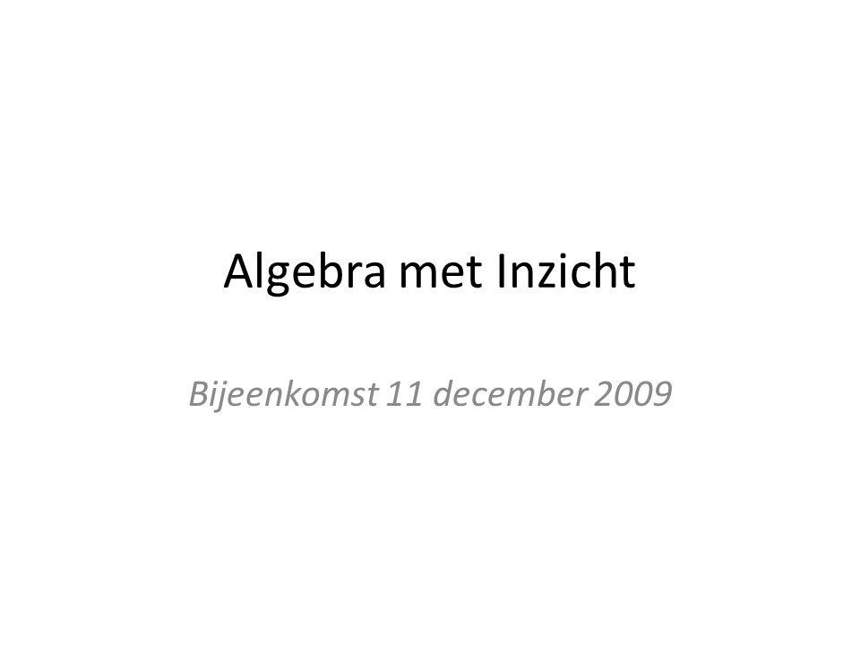 Algebra met Inzicht Bijeenkomst 11 december 2009
