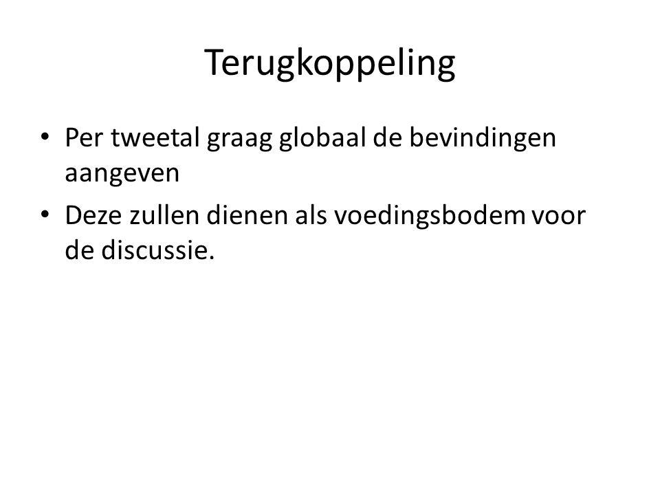 Terugkoppeling Per tweetal graag globaal de bevindingen aangeven Deze zullen dienen als voedingsbodem voor de discussie.