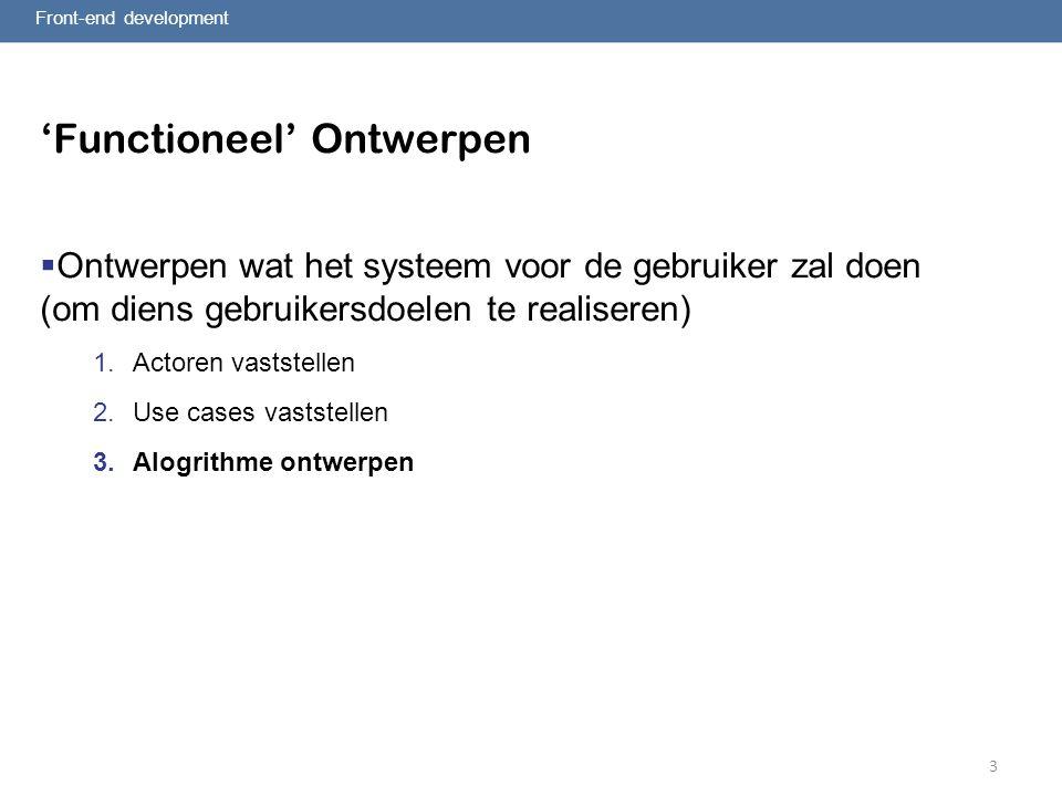 3 'Functioneel' Ontwerpen  Ontwerpen wat het systeem voor de gebruiker zal doen (om diens gebruikersdoelen te realiseren) 1.Actoren vaststellen 2.Use cases vaststellen 3.Alogrithme ontwerpen Front-end development