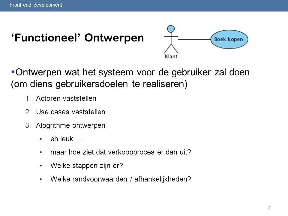 8 'Functioneel' Ontwerpen  Ontwerpen wat het systeem voor de gebruiker zal doen (om diens gebruikersdoelen te realiseren) 1.Actoren vaststellen 2.Use