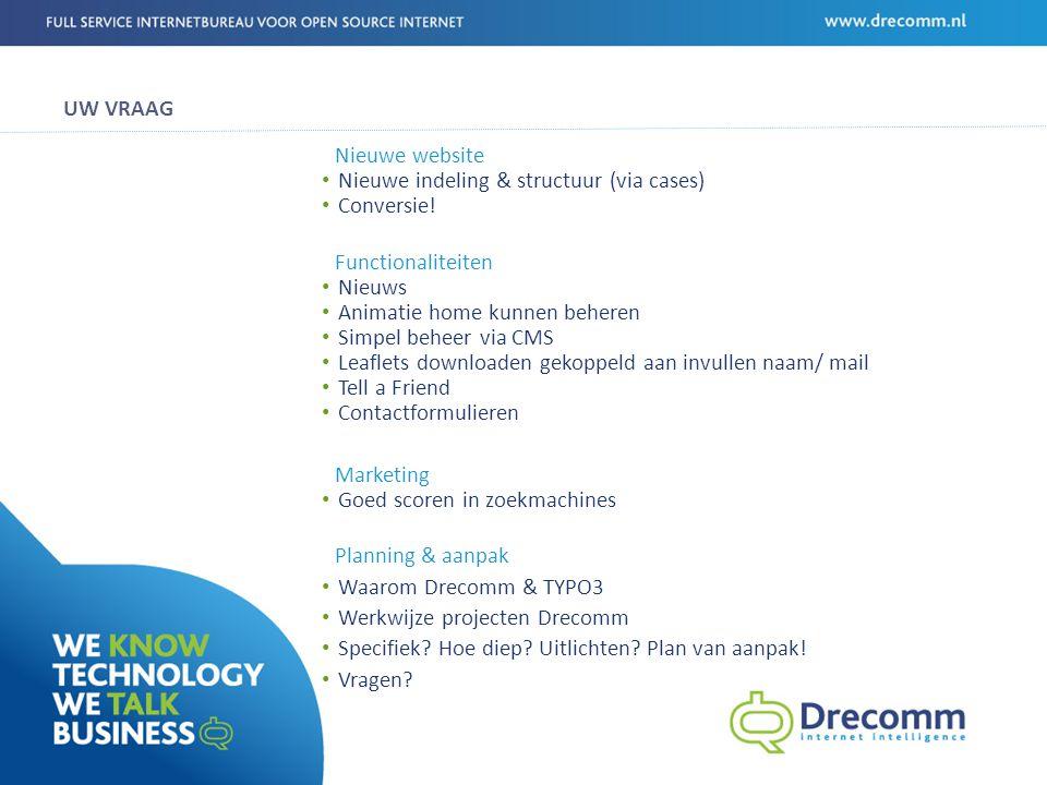 WIE IS DRECOMM Drecomm realiseert technisch hoogwaardige (web) oplossingen.
