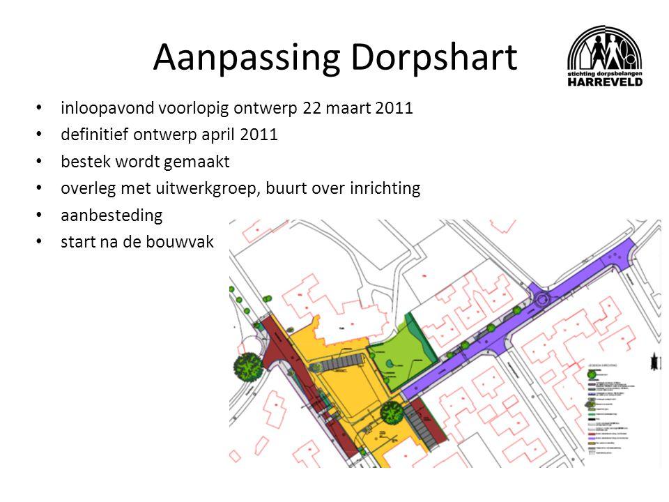 Aanpassing Dorpshart inloopavond voorlopig ontwerp 22 maart 2011 definitief ontwerp april 2011 bestek wordt gemaakt overleg met uitwerkgroep, buurt over inrichting aanbesteding start na de bouwvak