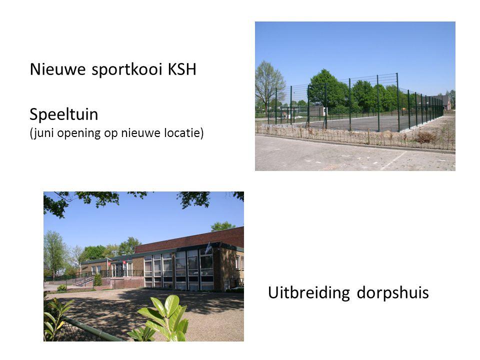 Nieuwe sportkooi KSH Speeltuin (juni opening op nieuwe locatie) Uitbreiding dorpshuis
