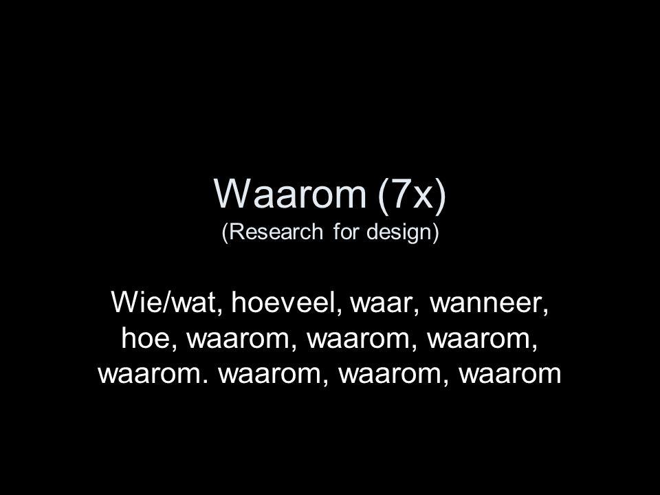 Waarom (7x) (Research for design) Wie/wat, hoeveel, waar, wanneer, hoe, waarom, waarom, waarom, waarom.