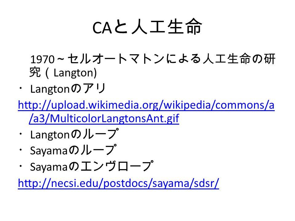 CA と人工生命 1970 ~セルオートマトンによる人工生命の研 究( Langton) ・ Langton のアリ http://upload.wikimedia.org/wikipedia/commons/a /a3/MulticolorLangtonsAnt.gif ・ Langton のルー