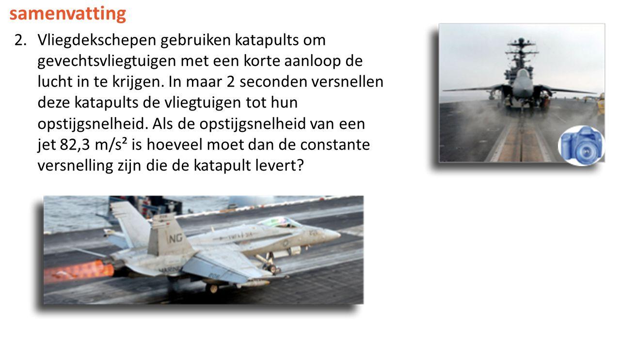 2.Vliegdekschepen gebruiken katapults om gevechtsvliegtuigen met een korte aanloop de lucht in te krijgen. In maar 2 seconden versnellen deze katapult